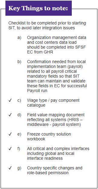SuccessFactors Checklist