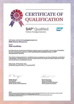 NGA clearHRsky certified as SAP Partner-Packaged Solution for SuccessFactors