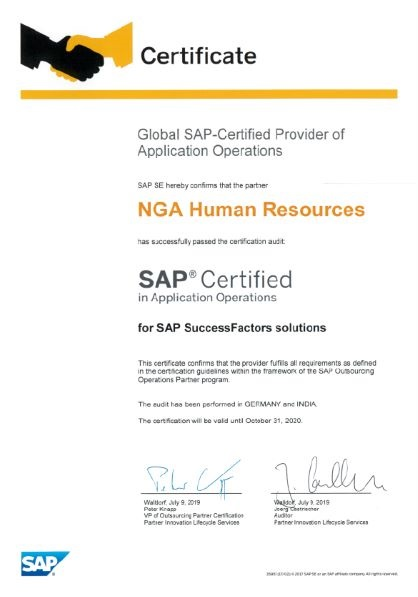 NGA HR achieves 'Global SAP-Certified Provider of Application Operations for SAP® SuccessFactors® Solutions'